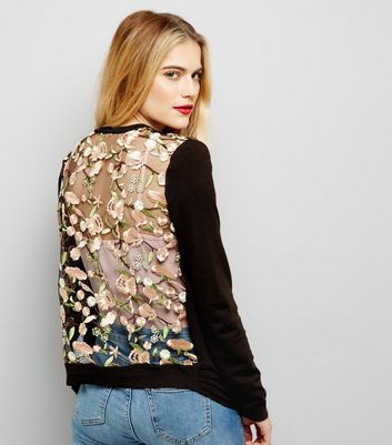 Black Floral Embroidered Lace Back Cardigan