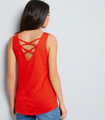 Orange Cross Strap Back Vest