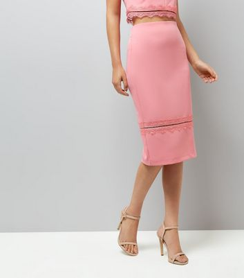 Pink Lace Trim Pencil Skirt