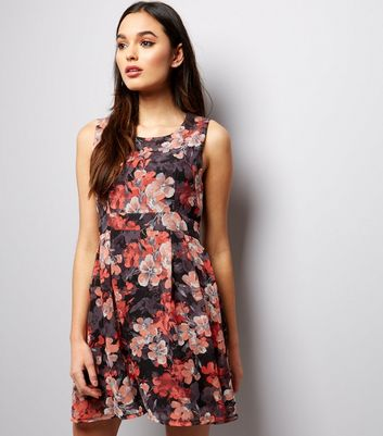 Apricot Black Floral Tie Back Mini Dress