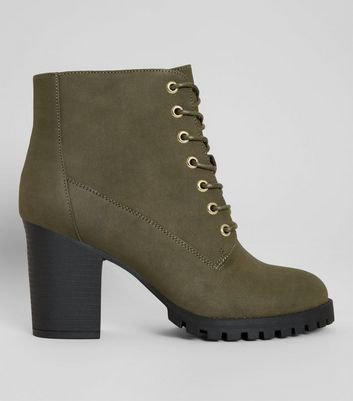 Wide Fit Khaki Lace Up Heeled Biker Boots