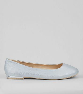 Wide Fit Silver Metal Trim Pumps