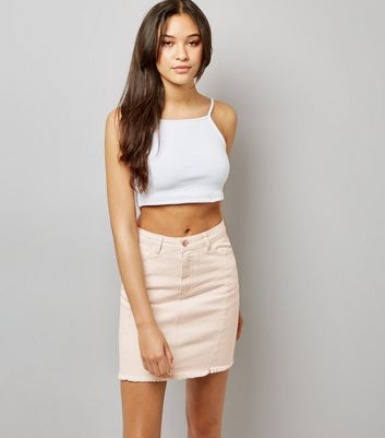 Pink Denim Frayed Hem Skirt