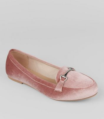 Wide Fit Pink Velvet Loafers