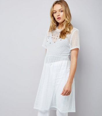 White Embellished Spot Mesh Dress