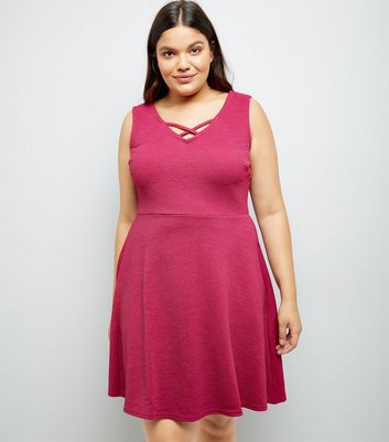 Curves Pink Lattice Neckline Skater Dress