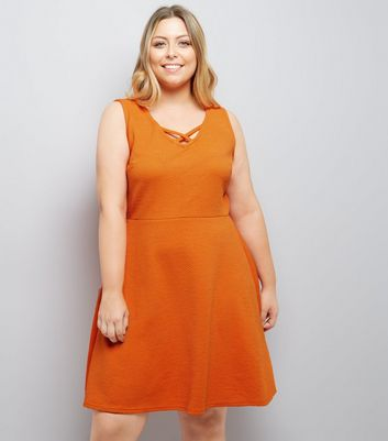 Curves Orange Lattice Front Jacquard Skater Dress