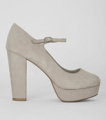 Wide Fit Grey Suedette Platform Heels