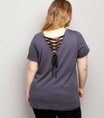 Curves Grey Lace Up Back T-Shirt