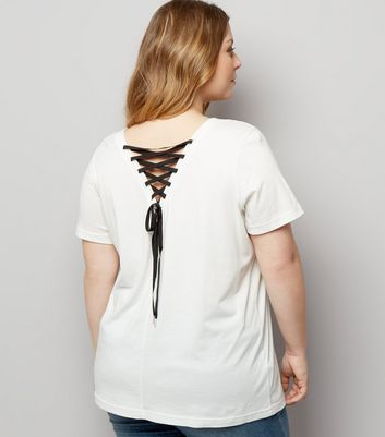 Curves Cream Lace Up Back T-Shirt
