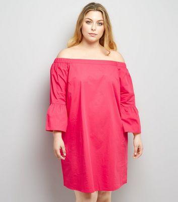 Curves Pink Bardot Neck Tunic Dress