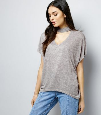 Blue Vanilla Grey Gem Studded Choker Neck T-Shirt