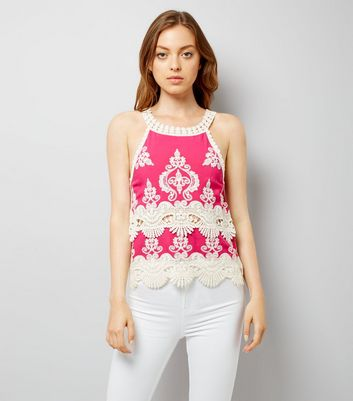 Pink Crochet Trim Top