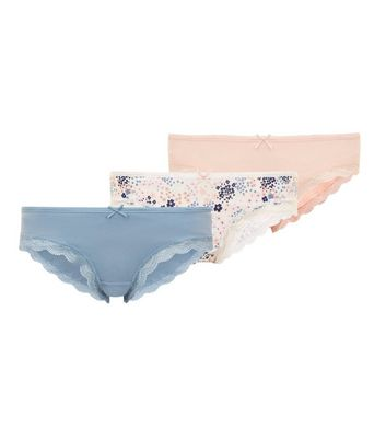 Maternity 3 Pack Blue Floral Print Underbump Briefs