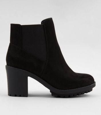 Wide Fit Black Suedette Heeled Chelsea Boots