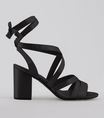 Wide Fit Black Satin Ankle Tie Heels