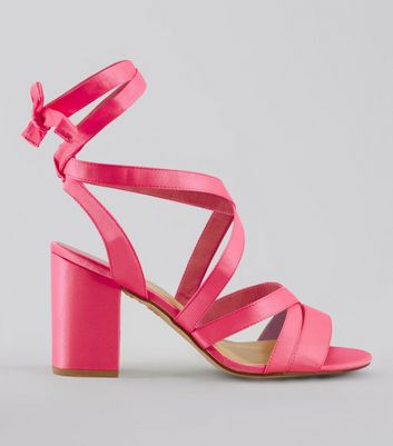 Wide Fit Pink Satin Ankle Tie Heels