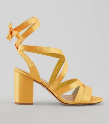 Wide Fit Yellow Satin Ankle Tie Heels