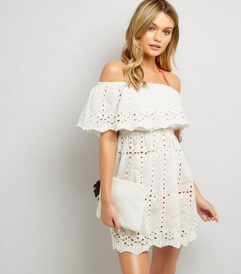 White Cut Out Detail Bardot Dress