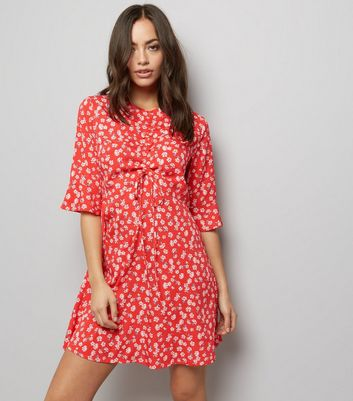 Influence Red Floral Print 1/2 Sleeve Dress