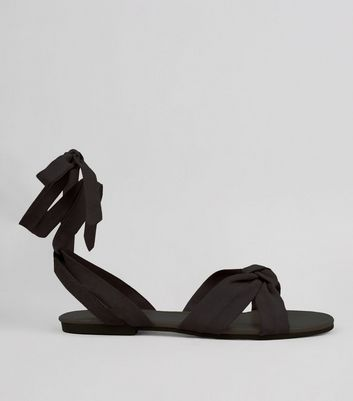 Black Ankle Tie Sandals