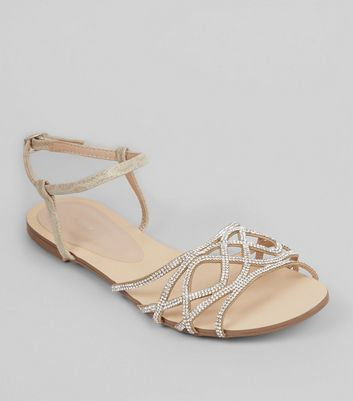 Nude Pink Embellished Sandals