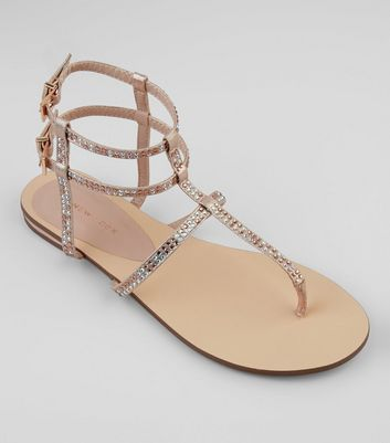 Rose Gold Diamante Stud Gladiator Sandals