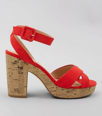Red Suedette Cross Strap Cork Sole Heels