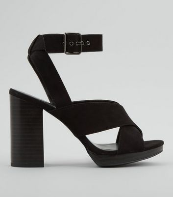 Black Cross Strap Buckle Strap Heels