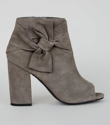 Grey Suede Bow Strap Peep Toe Boots