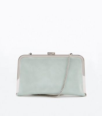 Mint Green Metal Frame Clutch Bag