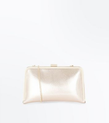 Rose Gold Faux Croc Metal Frame Clutch Bag