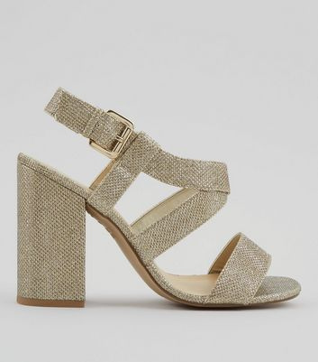 Gold Glitter Cross Strap Block Heels