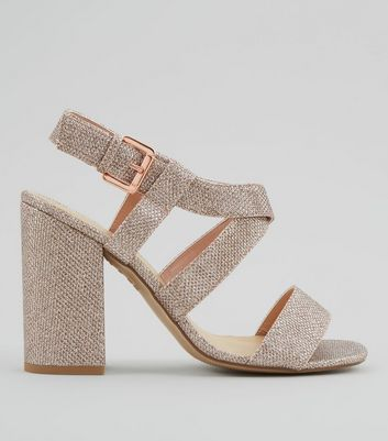 Rose Gold Glitter Cross Strap Block Heels