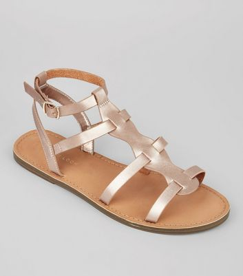 Rose Gold Gladiator Sandals, Sandals