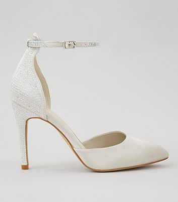 Silver Diamante Stud Pointed Heels