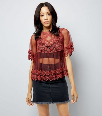 Red Crochet Mesh Embroidered Top