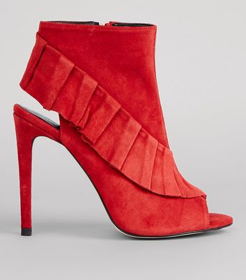 Red Suede Frill Trim Peep Toe Heels