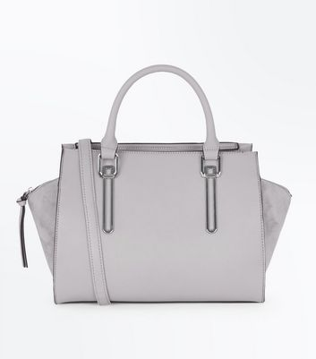 Grey Metallic Trim Tote Bag