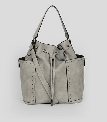 Grey Studded Trim Drawstring Duffle Bag