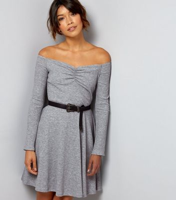 Dark Grey Ribbed Jersey Long Sleeve Bardot Neck Skater Dress