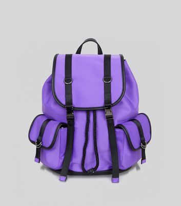 Purple Scuba Contrast Trim Backpack