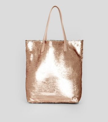 Rose Gold Sequin Shopper Bag