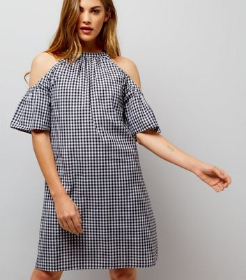 Black Gingham Cold Shoulder Dress