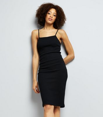 Black Strappy Ribbed Bodycon Midi Dress