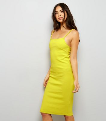 Yellow Ribbed Bodycon Midi Dress