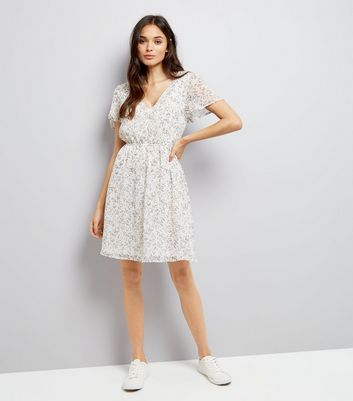 White Floral Print Summer Dress