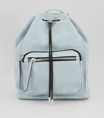 Pale Blue Chunky Zip Backpack