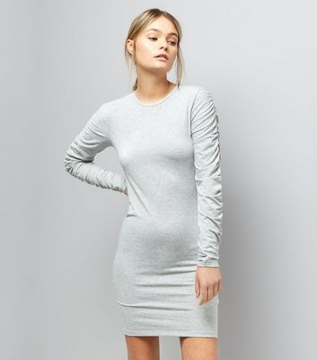 Pale Grey Ruched Sleeve Jersey Bodycon Dress