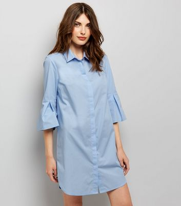 Blue Flared Sleeve Shirt Dress